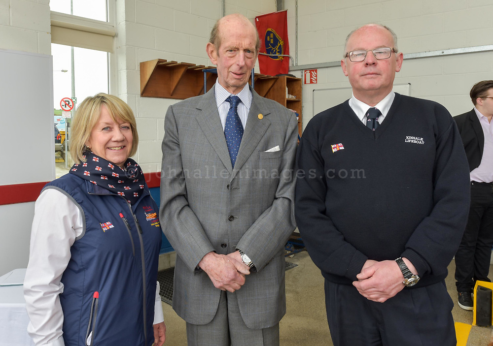 """The Duke of Kent with Tricia Tyson and John O'Gorman, Lifeboat Operations Manager Kinsale RNLI.<br /> Picture. John Allen<br /> <br /> Volunteer crew members of Kinsale RNLI  gave a warm welcome the His Royal Highness the Duke of Kent who made his first visit to the busy West Cork lifeboat station today (Wednesday 31 May).  The Duke has been Patron and President  of the RNLI,  the charity that saves lives at sea, since 1969.   He spent almost an hour meeting volunteers and hearing details of successful rescues by the Kinsale volunteers, including the Sean Anthony in April 2016 when three Portuguese fishermen were saved from a sinking trawler, and the evacuation of 30 people from the sailing vessel Astrid that foundered outside Kinsale Harbour in July 2013.  The Duke was introduced to Christopher Keane Hopcraft, one of the young people rescued from the Astrid, and Mrs Janet Rutherford who received medical attention and was brought to safety after she was injured on board a yacht.  Members of the local community were also invited to meet the Duke, including representatives of Kinsale's fishing fleet, along with RNLI volunteers from West Cork's newest station in Union Hall and representatives of the GAA, partners in the RNLI Respect the Water campaign that aims to halve the number of coastal deaths by 2024.<br /> <br /> The Duke said:<br /> <br /> Kinsale RNLI Lifeboat Operations Manager, John O'Gorman, said:  """"It was a honour and a privilege for us to meet the Duke who has provided unwavering support to the RNLI for almost half a century.  Our station on the Wild Atlantic Way is a long way from the RNLI HQ in Poole so we rarely get the opportunity to meet someone so close to the heart of the charity.  In that time he has visited the vast majority of lifeboat stations and we are delighted he chose to add Kinsale to that list.  He showed a great knowledge and understanding of our lifesaving work and <br /> sometimes being so on the coalface"""
