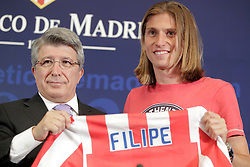26.07.2010, Estadio Santiago Bernabeu, Madrid, ESP, Atletico de Madrid new Player Filipe Luis, im Bild Atletico de Madrid's new player Filipe Luis and president Enrique Cerezo during official presentation. EXPA Pictures © 2010, PhotoCredit: EXPA/ Alterphotos/ +++++ ATTENTION - OUT OF SPAIN +++++ / SPORTIDA PHOTO AGENCY