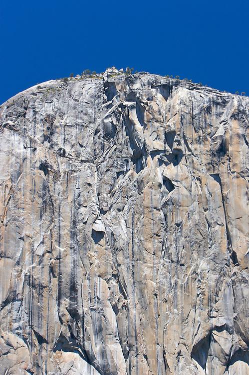 The peak of El Capitan, in Yosemite National Park, California.