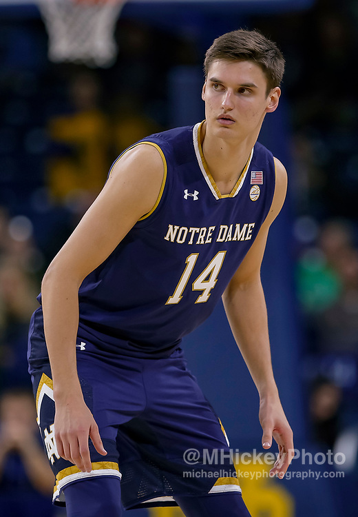 SOUTH BEND, IN - NOVEMBER 08: Nate Laszewski #14 of the Notre Dame Fighting Irish is seen during the game against the Chicago State Cougars at Purcell Pavilion on November 8, 2018 in South Bend, Indiana. (Photo by Michael Hickey/Getty Images) *** Local Caption *** Nate Laszewski