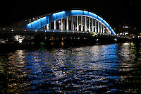 """The Eitai-bashi Bridge or just Eitai Bridge dates from 1924, replacing a bridge built in 1696.  The Sumida River or Sumida-gawa as it is known in Japanese, is a river which flowing through Tokyo. It branches from the Arakawa River and flows into Tokyo Bay. Its tributaries include the Kanda and Shakujii rivers. What is now known as the """"Sumida River"""" was previously the path of the Arakawa River, however towards the end of the Meiji period the rivers were diverted from the main flow of the Arakawa to prevent flooding."""