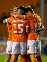 Blackpool players celebrates with Sean Scannell after he opened the scoring<br /> <br /> Photographer Alex Dodd/CameraSport<br /> <br /> The EFL Sky Bet League One - Blackpool v Lincoln City - Friday 27th September 2019 - Bloomfield Road - Blackpool<br /> <br /> World Copyright © 2019 CameraSport. All rights reserved. 43 Linden Ave. Countesthorpe. Leicester. England. LE8 5PG - Tel: +44 (0) 116 277 4147 - admin@camerasport.com - www.camerasport.com
