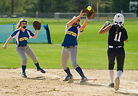 Gilford's Jillian Lachapelle makes the out at first on White Mountains Amaya Dodier during NHIAA Division III softball Wednesday afternoon.  (Karen Bobotas/for the Laconia Daily Sun)