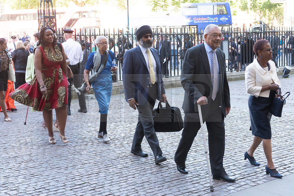 © Licensed to London News Pictures. 22/06/2018. London, UK. Guests attend a service of Thanksgiving at Westminster Abbey to mark the 70th Anniversary of the Landing of the Windrush. The MV Windrush ship docked at Tilbury in the Port of London on 22nd June 1948 and  was carrying 492 passengers from the port of Kingston in Jamaica. Photo credit: Ray Tang/LNP