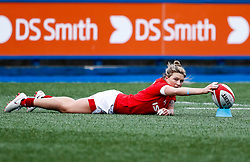 Keira Bevan of Wales steadies the ball ahead of the kick<br /> <br /> Photographer Simon King/Replay Images<br /> <br /> Six Nations Round 5 - Wales Women v Ireland Women- Sunday 17th March 2019 - Cardiff Arms Park - Cardiff<br /> <br /> World Copyright © Replay Images . All rights reserved. info@replayimages.co.uk - http://replayimages.co.uk