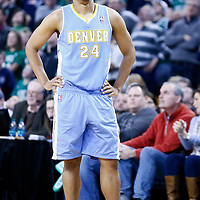 10 February 2013: Denver Nuggets point guard Andre Miller (24) looks dejected during the Boston Celtics 118-114 3OT victory over the Denver Nuggets at the TD Garden, Boston, Massachusetts, USA.