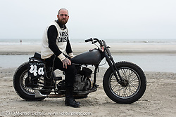 """Magneto Mike Cohen (of Morris Magneto where he mostly rebuilds old mags) with his 1942 Harley-Davidson WLA 45"""" Flathead racer at TROG (The Race Of Gentlemen). Wildwood, NJ. USA. Sunday June 10, 2018. Photography ©2018 Michael Lichter."""