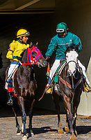 Jockey Jordano Tunon riding Shadow of Justice, Keeneland Racecourse, Lexington, Kentucky USA.