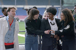 16/04/1990<br />Nelson Mandela: An International Tribute for a Free South Africa Concert at Wembley Stadium<br />Jim Kerr, Chrissie Hynde, Winnie Mandela and Neneh Cherry / action press