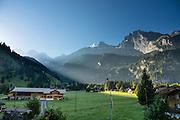 Alps mountain views from Hotel Alpha Soleil, Kandersteg, Bern canton, Switzerland, Europe.