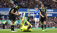 Diego Costa of Chelsea and Maarten Stekelenburg of Everton during the English Premier League match at Goodison Park , Liverpool. Picture date: April 30th, 2017. Photo credit should read: Lynne Cameron/Sportimage