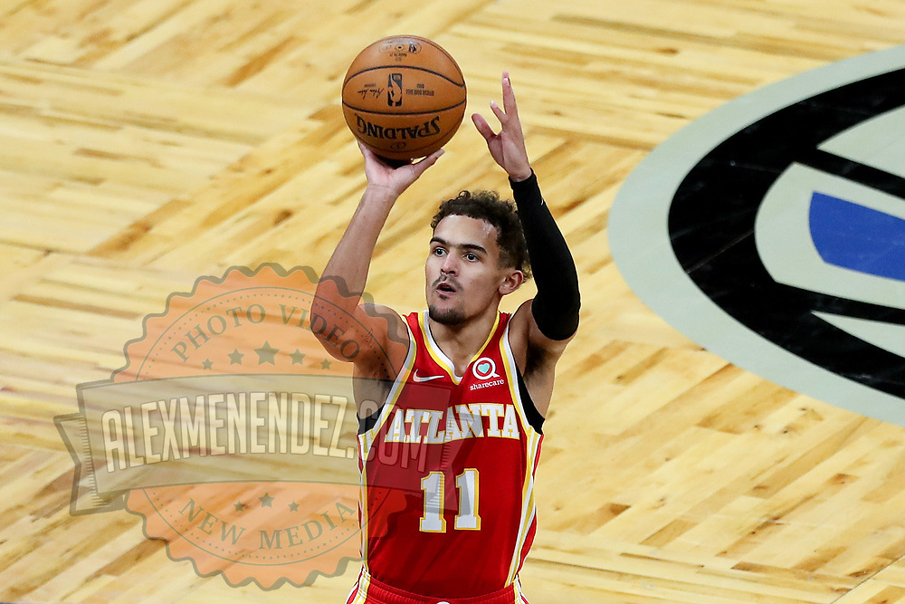 ORLANDO, FL - MARCH 03: Trae Young #11 of the Atlanta Hawks shoots the ball against the Orlando Magic at Amway Center on March 3, 2021 in Orlando, Florida. NOTE TO USER: User expressly acknowledges and agrees that, by downloading and or using this photograph, User is consenting to the terms and conditions of the Getty Images License Agreement. (Photo by Alex Menendez/Getty Images)*** Local Caption ***Trae Young