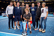 Alexander 'Sasha' Zverev of Germany with his pet dog and team during the Nitto ATP Tour Finals at the O2 Arena, London, United Kingdom on 18 November 2018. Photo by Martin Cole