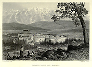 Engraving on steel of Lebanon Range and Ba'albek [Baalbek] from Picturesque Palestine, Sinai and Egypt by Wilson, Charles William, Sir, 1836-1905; Lane-Poole, Stanley, 1854-1931 Volume 2. Published in New York by D. Appleton in 1881-1884