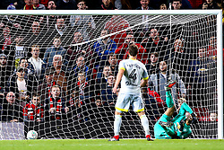 Craig Bryson of Derby County scores his penalty in the shootout - Mandatory by-line: Robbie Stephenson/JMP - 25/09/2018 - FOOTBALL - Old Trafford - Manchester, England - Manchester United v Derby County - Carabao Cup