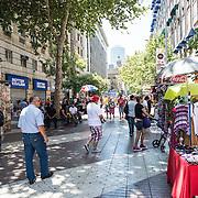 A pedestrian street near the Plaza de Armas in the center of Santiago de Chile.