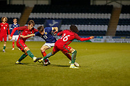 Aaron Hickey (Heart of Midlothian) & Bruno Tavares challenge for the ball during the U17 European Championships match between Portugal and Scotland at Simple Digital Arena, Paisley, Scotland on 20 March 2019.
