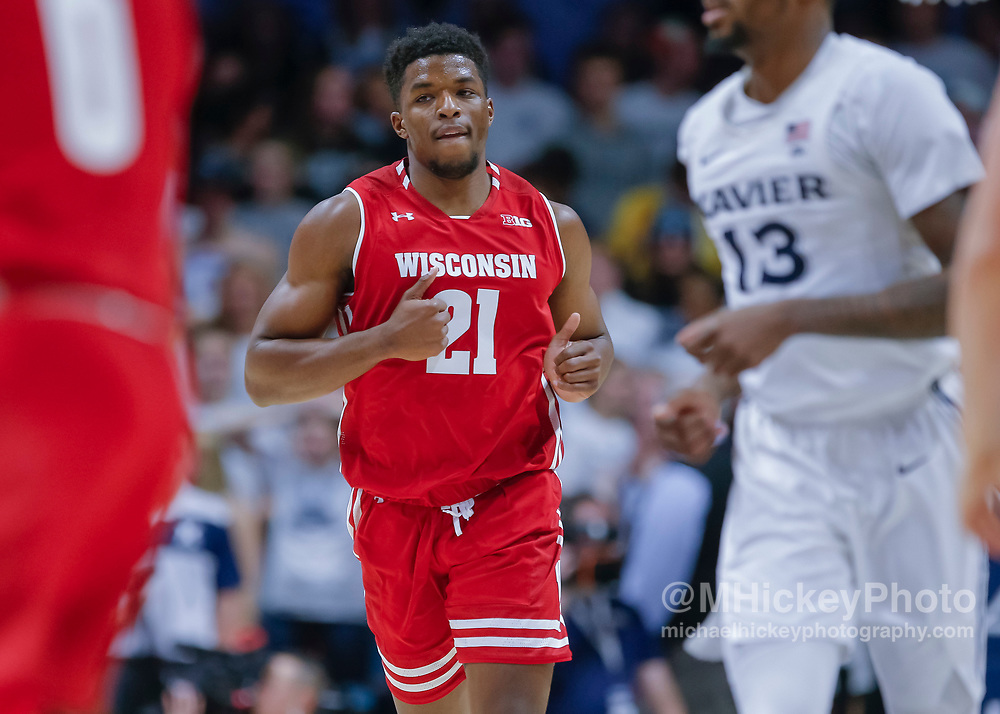 CINCINNATI, OH - NOVEMBER 13: Khalil Iverson #21 of the Wisconsin Badgers is seen during the game against the Xavier Musketeers at Cintas Center on November 13, 2018 in Cincinnati, Ohio. (Photo by Michael Hickey/Getty Images) *** Local Caption *** Khalil Iverson
