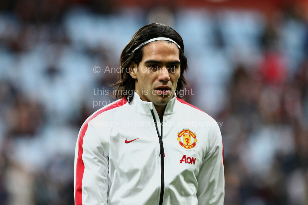 Radamel Falcao of Manchester United leaves the field after pre-match warm up. Barclays Premier league match, Aston Villa v Manchester Utd at Villa Park in Birmingham on Saturday 20th December 2014<br /> pic by Mark Hawkins, Andrew Orchard sports photography.