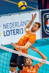 Luuc van der Ent of Netherlands in action during the CEV Eurovolley 2021 Qualifiers between Croatia and Netherlands at Topsporthall Omnisport on May 16, 2021 in Apeldoorn, Netherlands
