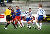 Fotball, 1236. juli 2006, Adeccoligaen, Tromsdalen - FK Haugesund<br /> Daniel Reinoso, Morten Giever, Tromsdalen og Jonas Johansen, Kevin Nicol, Haugesund<br /> Foto: Tom Benjaminsen / DIGITALSPORT