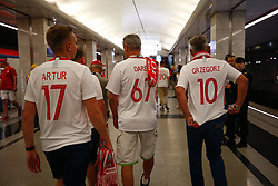 June 19, 2018 - Moscou, Rússia - MOSCOU, MO - 19.06.2018: POLAND VS SENEGAL - Polish fans arrive by subway between Poland and Senegal for the first round of group H of the 2018 World Cup, held at the Otkrytie Arena in Moscow, Russia. (Credit Image: © Marcelo Machado De Melo/Fotoarena via ZUMA Press)