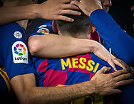 Leo Messi of FC Barcelona celebrates scoring a goal with teammates during the sixteen round match of the La Liga 2019-2020 season between FC BARCELONA and RCD MALLORCA at CAMP NOU STADIUM in Barcelona, Spain.December 7, 2019