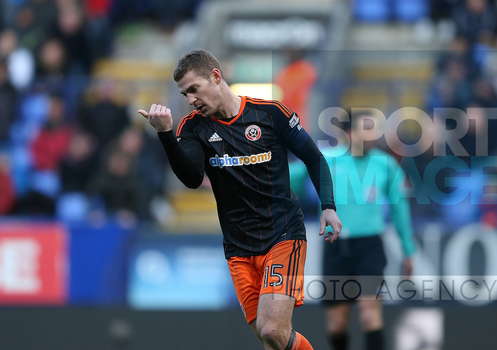 Paul Coutts of Sheffield Utd tuns back to start the game after scoring during the FA Cup Second round match at the Macron Stadium, Bolton. Picture date: December 4th, 2016. Pic Simon Bellis/Sportimage