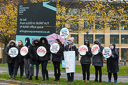 Bracknell, UK. 29 October, 2020. PETA supporters, including one wearing a costume depicting a beaker of water in which a mouse is struggling to stay afloat, protest outside Eli Lilly's R&D centre to call on the US pharmaceutical company to ban the forced swim test. Animal rights charity PETA UK contends that the forced swim test during which small animals are dosed with an anti-depressant drug, placed in inescapable beakers filled with water and forced to swim to keep from drowning has been widely discredited and that other pharmaceutical companies including Johnson & Johnson, GlaxoSmithKline, Pfizer, Bayer, Roche and AstraZeneca have banned it.