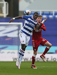 Taylor Moore of Bristol City and Lucas Joao of Reading challenge for a headrer  - Mandatory by-line: Arron Gent/JMP - 28/11/2020 - FOOTBALL - Madejski Stadium - Reading, England - Reading v Bristol City - Sky Bet Championship