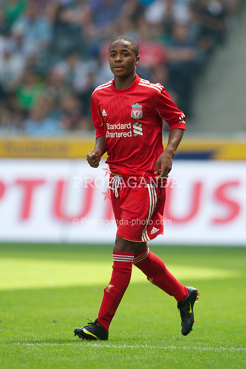 MONCHENGLADBACH, GERMANY - Sunday, August 1, 2010: Liverpool's Raheem Sterling makes his debut for the Reds, becoming the club's youngest ever player at 15, against Borussia Monchengladbach during a preseason friendly match at Borussia-Park. (Pic by David Rawcliffe/Propaganda)