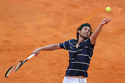 April 30, 2018 - Estoril, Portugal - Pedro Sousa of Portugal serves a ball to Gilles Simon of France during the Millennium Estoril Open ATP 250 tennis tournament - round 1, at the Clube de Tenis do Estoril in Estoril, Portugal on April 30, 2018. (Credit Image: © Pedro Fiuza/NurPhoto via ZUMA Press)