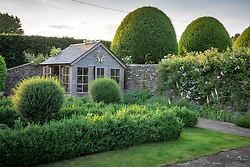 Summerhouse and box topiary in early June. Rosa 'Sander's White Rambler' in bud on wall