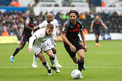 Joe Allen of Stoke City and Jay Fulton of Swansea City - Andrew Lewis/JMP - 05/10/2019 - FOOTBALL - Liberty Stadium - Swansea, England - Swansea City v Stoke City - Sky Bet Championship