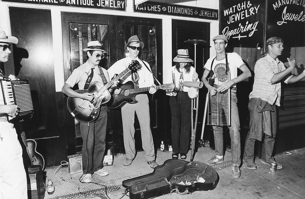 Street band playing for change, Austin's Sixth Street ©1980