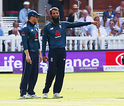 July 14, 2018 - London, Greater London, United Kingdom - L-R England's Eoin Morgan  and England's Moeen Ali .during 2nd Royal London One Day International Series match between England and India at Lords Cricket Ground, London, England on 14 July 2018. (Credit Image: © Action Foto Sport/NurPhoto via ZUMA Press)