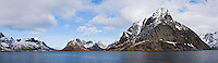 Panoramic view of Kjerkefjord and mountains, Reine, Lofoten Islands, Norway