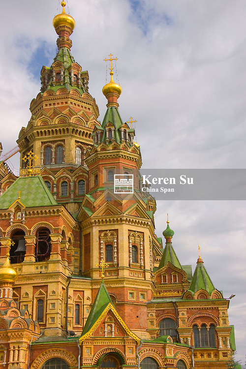 St. Peter and Paul's church (Peterhof Cathedral) in the Russian city of Peterhof near St. Petersburg, Russia