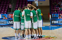 Team of Slovenia before the basketball match at 1st Round of Eurobasket 2009 in Group C between Slovenia and Serbia, on September 08, 2009 in Arena Torwar, Warsaw, Poland. Slovenia won 84:76. (Photo by Vid Ponikvar / Sportida)