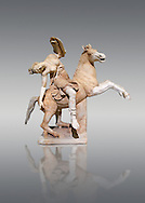 Roman marble sculpture of an Amazon on horseback, a 2nd century AD copy from an original 2nd century BC Hellanistic Greek original, inv 6407 Farnese Collection, Naples Naples Museum of Archaeology, Italy ..<br /> <br /> If you prefer to buy from our ALAMY STOCK LIBRARY page at https://www.alamy.com/portfolio/paul-williams-funkystock/greco-roman-sculptures.html . Type -    Naples    - into LOWER SEARCH WITHIN GALLERY box - Refine search by adding a subject, place, background colour, etc.<br /> <br /> Visit our ROMAN WORLD PHOTO COLLECTIONS for more photos to download or buy as wall art prints https://funkystock.photoshelter.com/gallery-collection/The-Romans-Art-Artefacts-Antiquities-Historic-Sites-Pictures-Images/C0000r2uLJJo9_s0