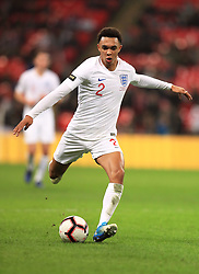 England's Trent Alexander-Arnold in action during the International Friendly at Wembley Stadium, London. PRESS ASSOCIATION Photo. Picture date: Thursday November 15, 2018. See PA story SOCCER England. Photo credit should read: Mike Egerton/PA Wire. RESTRICTIONS: Use subject to FA restrictions. Editorial use only. Commercial use only with prior written consent of the FA. No editing except cropping.