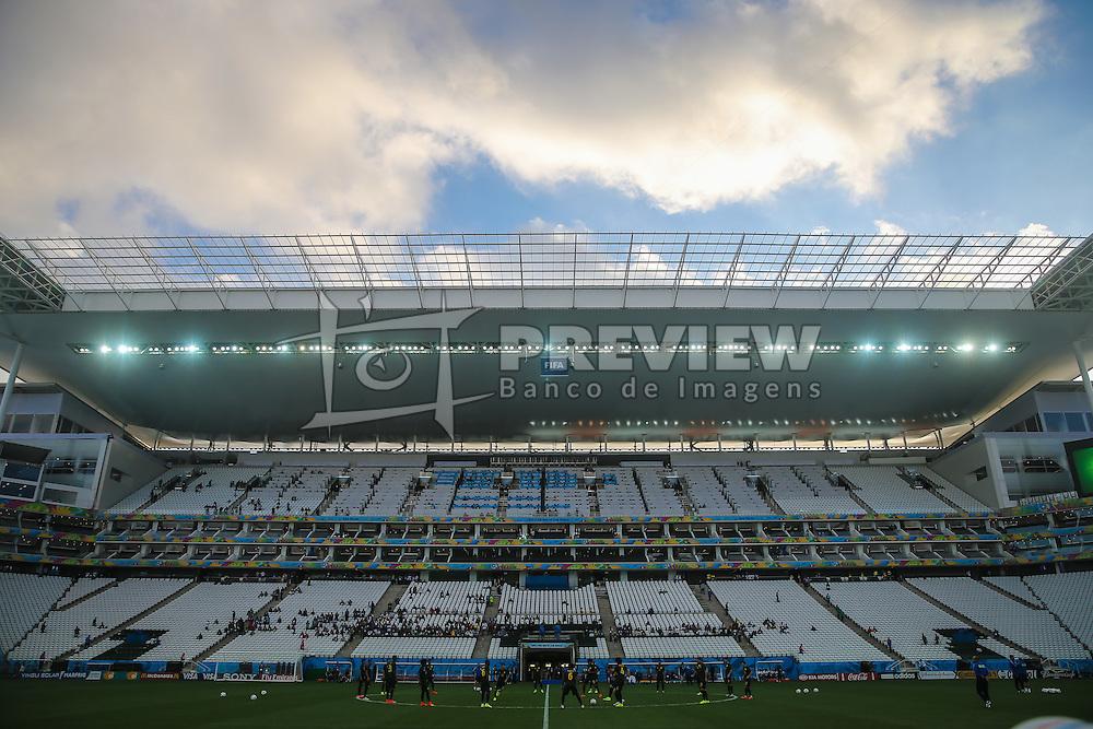 Arena de São Paulo cujo nome provisório é Arena Corinthians e que também é popularmente conhecida como Itaquerão, é um estádio de futebol  localizado no distrito de Itaquera, na zona leste de São Paulo, no Brasil. De propriedade do Sport Club Corinthians Paulista, foi inaugurada oficialmente em 18 de maio de 2014. FOTO: Jefferson Bernardes/ Agência Preview