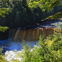 """""""Tahquamenon in September""""<br /> <br /> Before the leaves begin to change. Powerful waters of Upper Tahquamenon Falls flow. Framed by lovely green foliage!!<br /> <br /> Waterfalls by Rachel Cohen"""