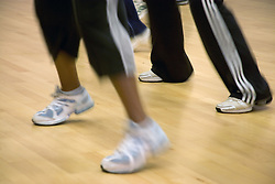 Close up of women's feet in a fitness class at Southglade Leisure Centre; Nottingham