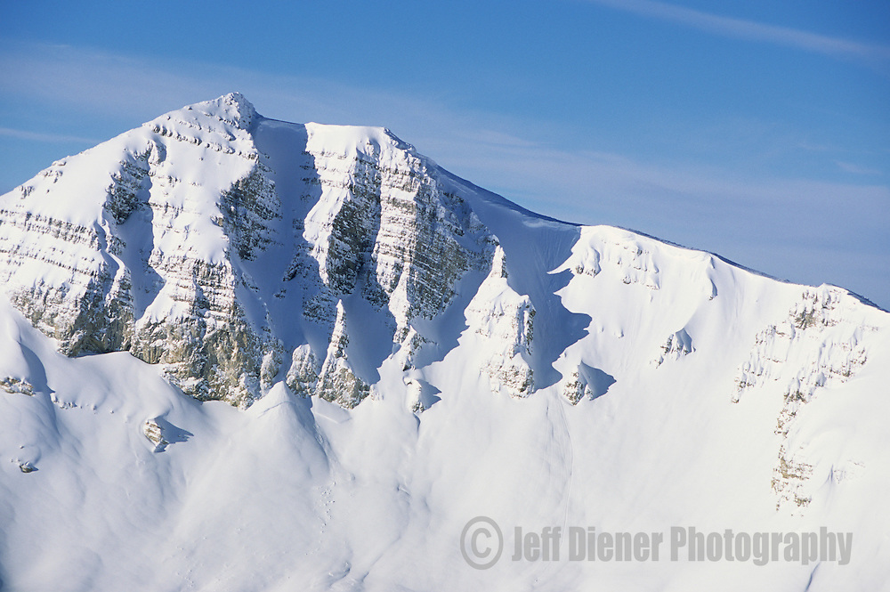 Snow blankets Cody Peak in the Jackson Hole backcountry, Wyoming.