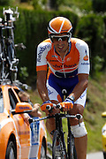 France, Talloire, 23 July 2009: Juan Antonio Flecha Giannoni (Spa) Rabobank on the Côte de Bluffy during Stage 18 - a 40.5 km Annecy to Annecy individual time trial. Photo by Peter Horrell / http://peterhorrell.com .