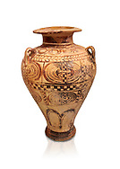 """Minoan """"Palace Style"""" clay decorated jars from the  Knossos-Isopata """"Royal Tomb"""" 1600-1500 BC BC, Heraklion Archaeological  Museum. .<br /> <br /> If you prefer to buy from our ALAMY PHOTO LIBRARY  Collection visit : https://www.alamy.com/portfolio/paul-williams-funkystock/minoan-art-artefacts.html . Type -   Heraklion   - into the LOWER SEARCH WITHIN GALLERY box. Refine search by adding background colour, place, museum etc<br /> <br /> Visit our MINOAN ART PHOTO COLLECTIONS for more photos to download  as wall art prints https://funkystock.photoshelter.com/gallery-collection/Ancient-Minoans-Art-Artefacts-Antiquities-Historic-Places-Pictures-Images-of/C0000ricT2SU_M9w"""
