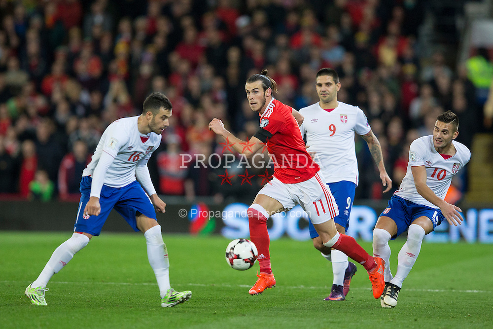 CARDIFF, WALES - Saturday, November 12, 2016: Wales' Gareth Bale in action against Serbia during the 2018 FIFA World Cup Qualifying Group D match at the Cardiff City Stadium. (Pic by David Rawcliffe/Propaganda)