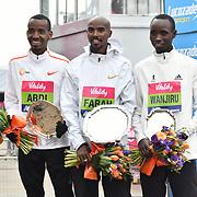 Bashir Abdi 2nd, Mo Farah 1st place and 3rd Daniel Wanjuri winner of the elite race at The Vitality Big Half 2019 on 10 March 2019, London, UK.
