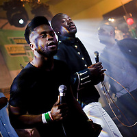 Picture shows : Edinburgh Band The Young Fathers performing at the second of three Creative Scotland  Band Showcases held at the British Music Embassy at Latitude off 6th Street during the SXSW Music Festival 2013. .Picture  © Drew Farrell.<br /> Band members<br /> Alloysious Massaquoi, Kayus Bankole and 'G' Hastings of Edinburgh.